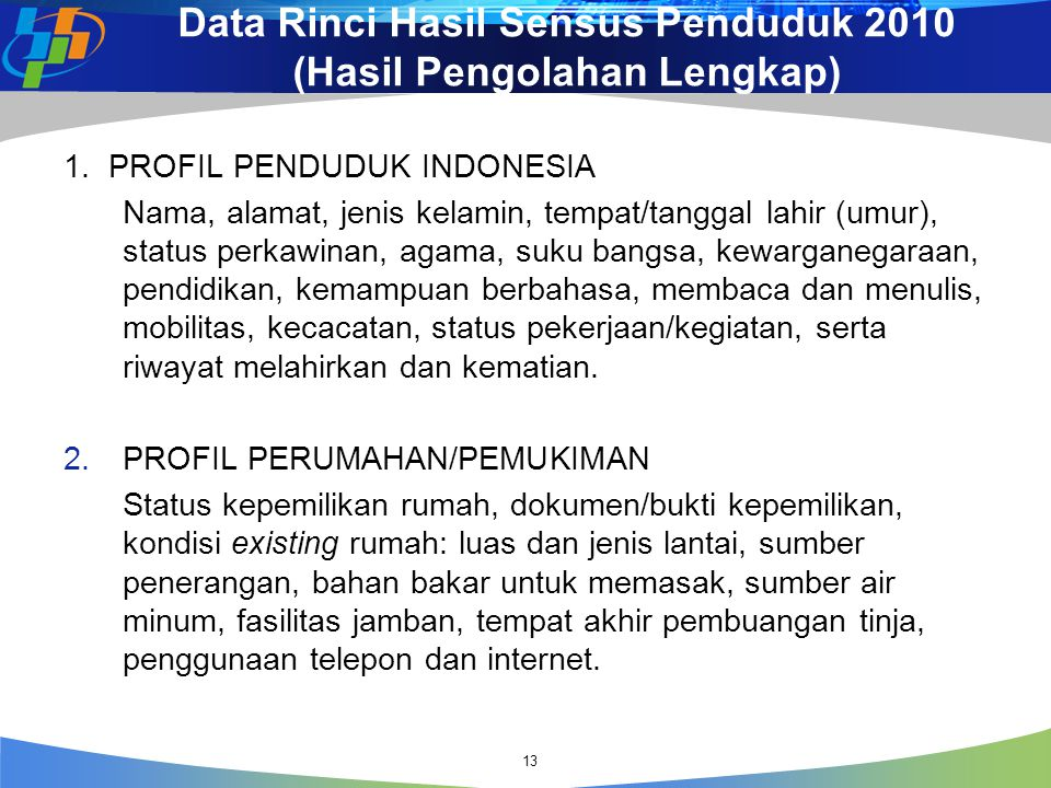Data Rinci Hasil Sensus Penduduk 2010 (Hasil Pengolahan Lengkap)