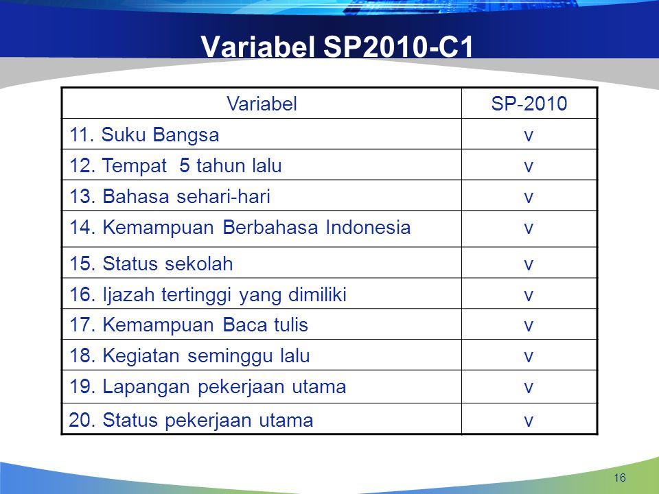 Variabel SP2010-C1 Variabel SP-2010 11. Suku Bangsa v