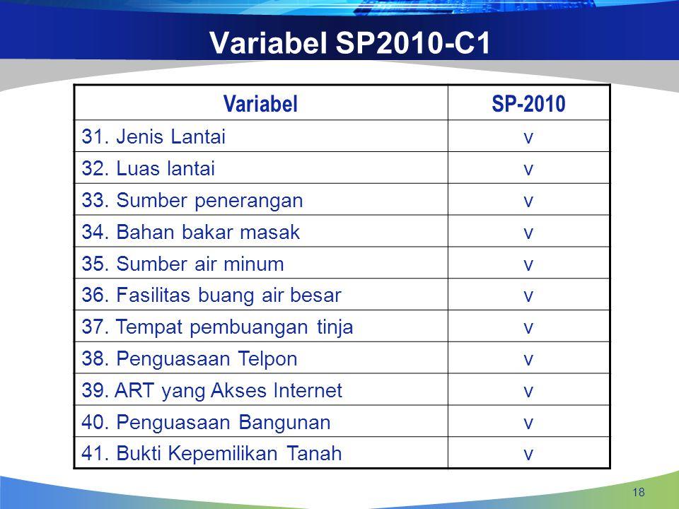 Variabel SP2010-C1 Variabel SP-2010 31. Jenis Lantai v 32. Luas lantai