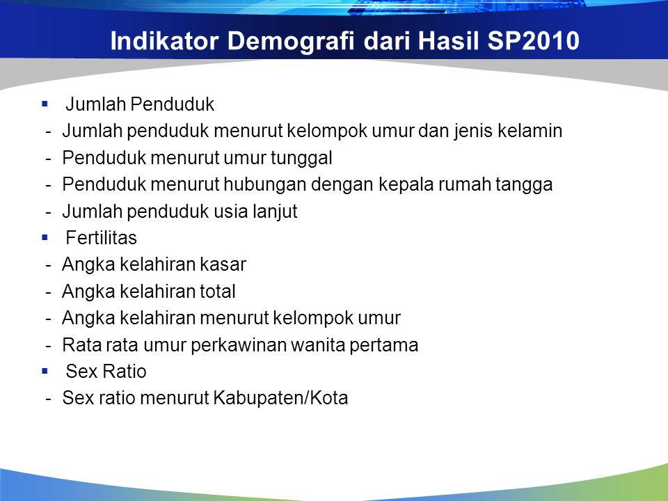 Indikator Demografi dari Hasil SP2010