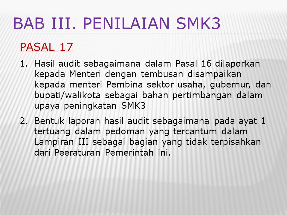 BAB III. PENILAIAN SMK3 PASAL 17