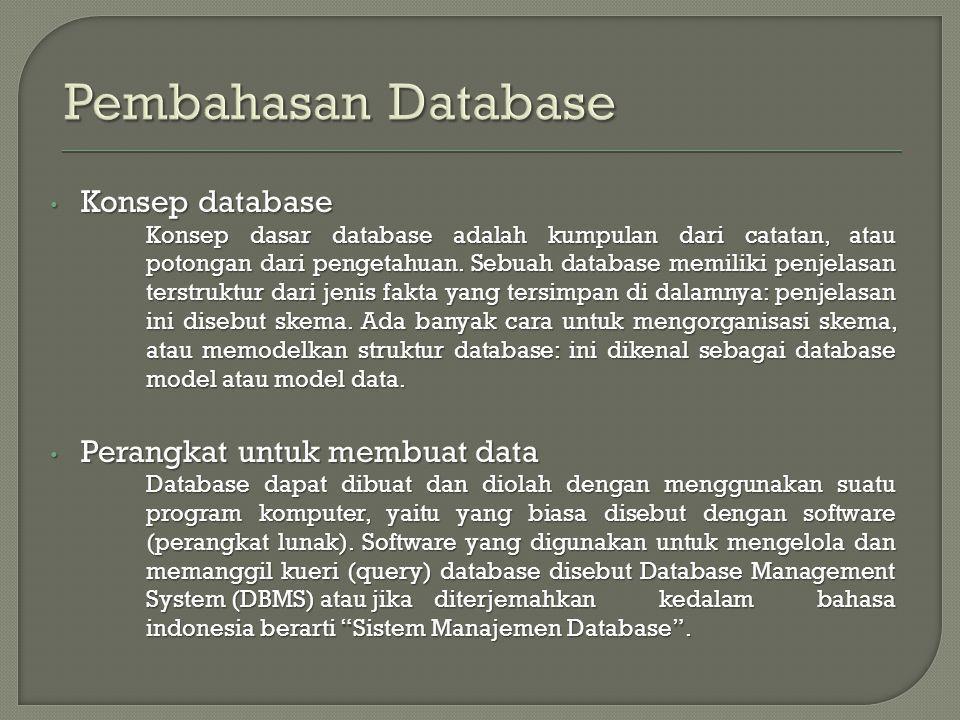 Pembahasan Database Konsep database Perangkat untuk membuat data