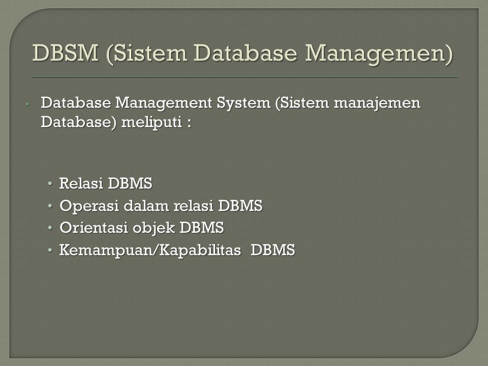 DBSM (Sistem Database Managemen)