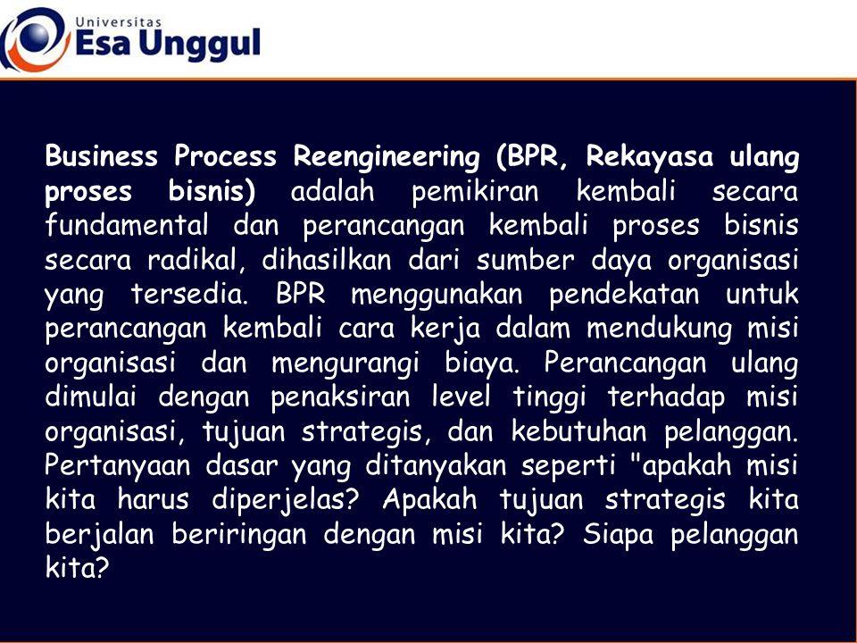 Business Process Reengineering (BPR, Rekayasa ulang proses bisnis) adalah pemikiran kembali secara fundamental dan perancangan kembali proses bisnis secara radikal, dihasilkan dari sumber daya organisasi yang tersedia.