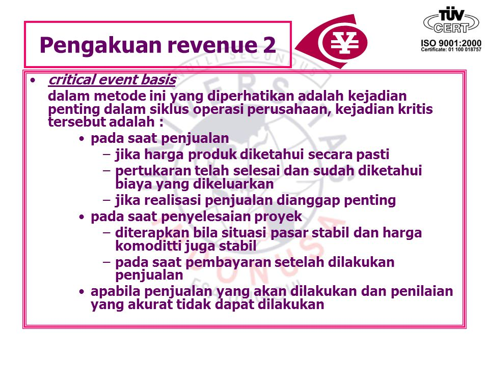Pengakuan revenue 2 critical event basis
