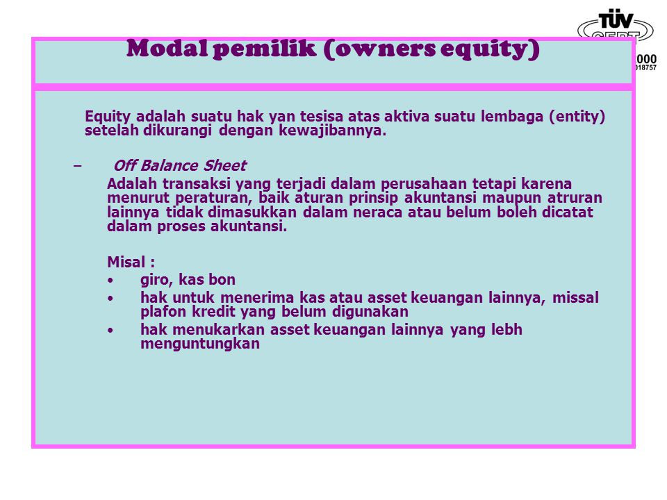 Modal pemilik (owners equity)