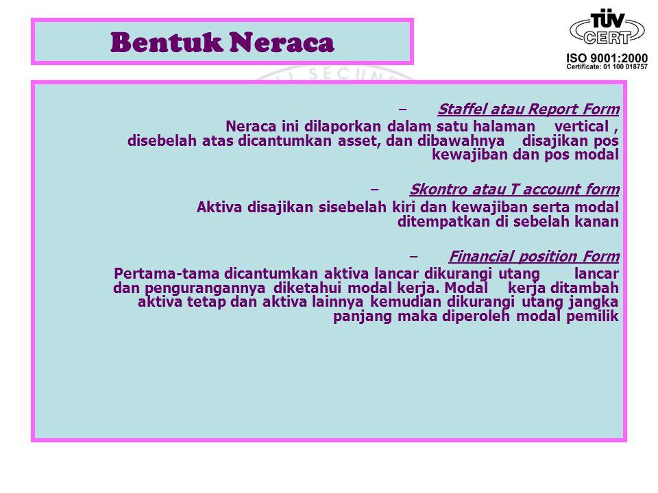 Bentuk Neraca Staffel atau Report Form