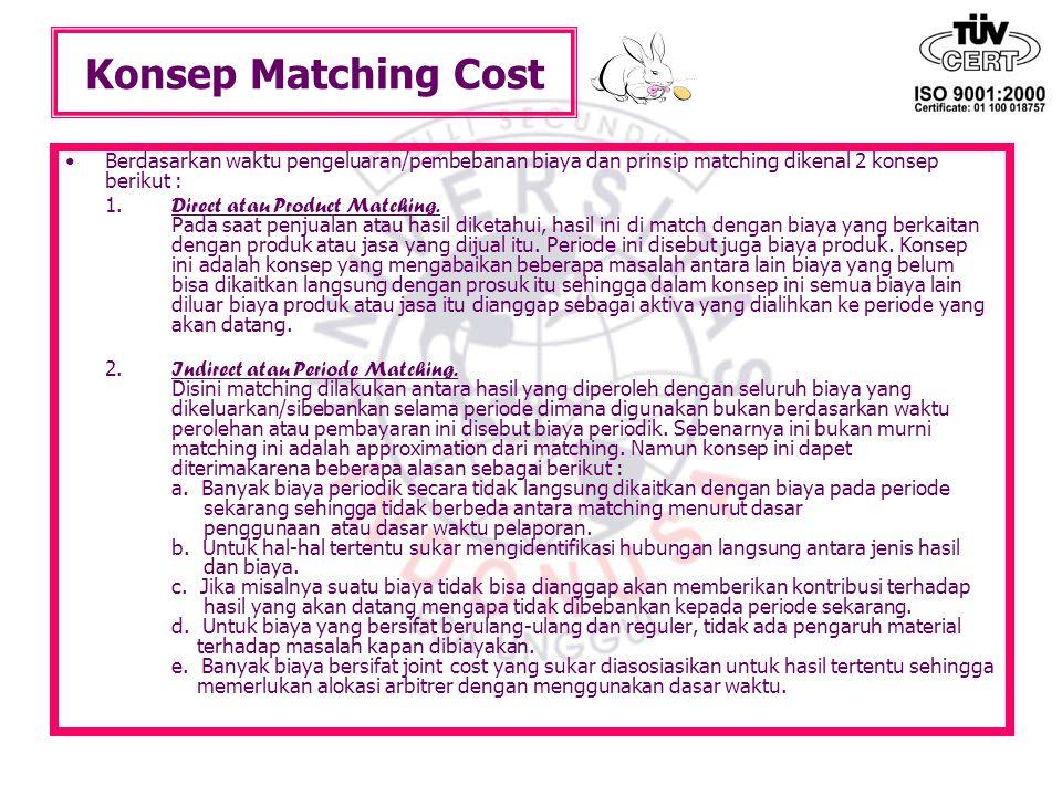 Konsep Matching Cost Berdasarkan waktu pengeluaran/pembebanan biaya dan prinsip matching dikenal 2 konsep berikut :