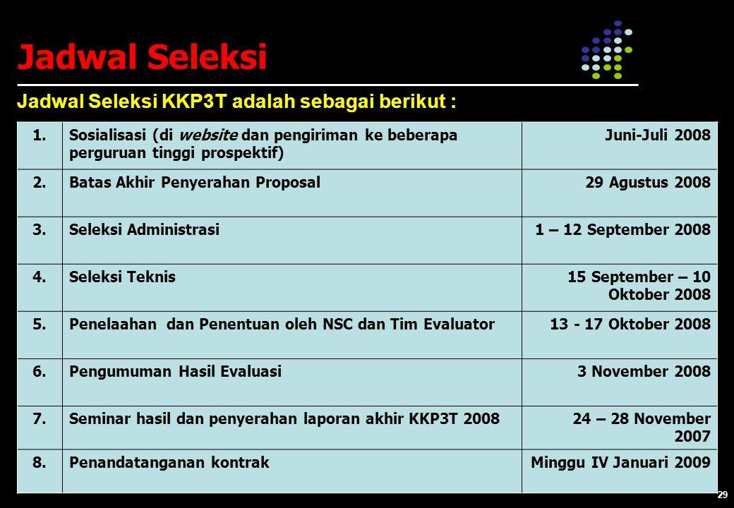 Jadwal Seleksi Jadwal Seleksi KKP3T adalah sebagai berikut : 1.
