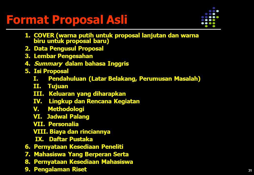 Format Proposal Asli 1. COVER (warna putih untuk proposal lanjutan dan warna biru untuk proposal baru)