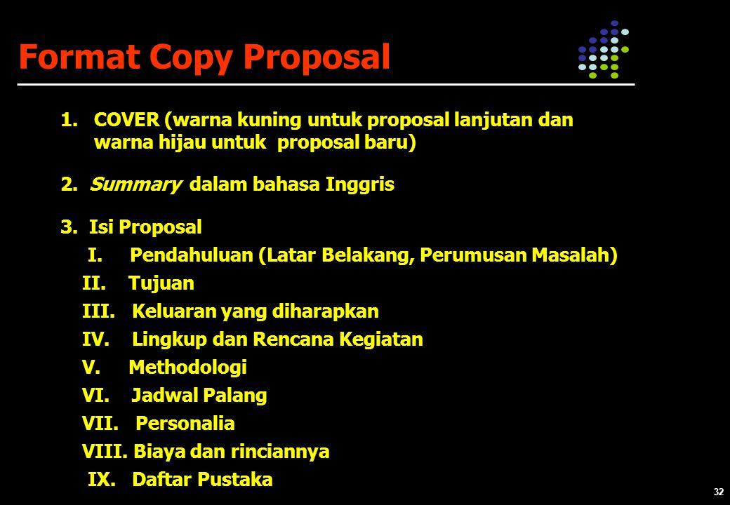 Format Copy Proposal COVER (warna kuning untuk proposal lanjutan dan warna hijau untuk proposal baru)