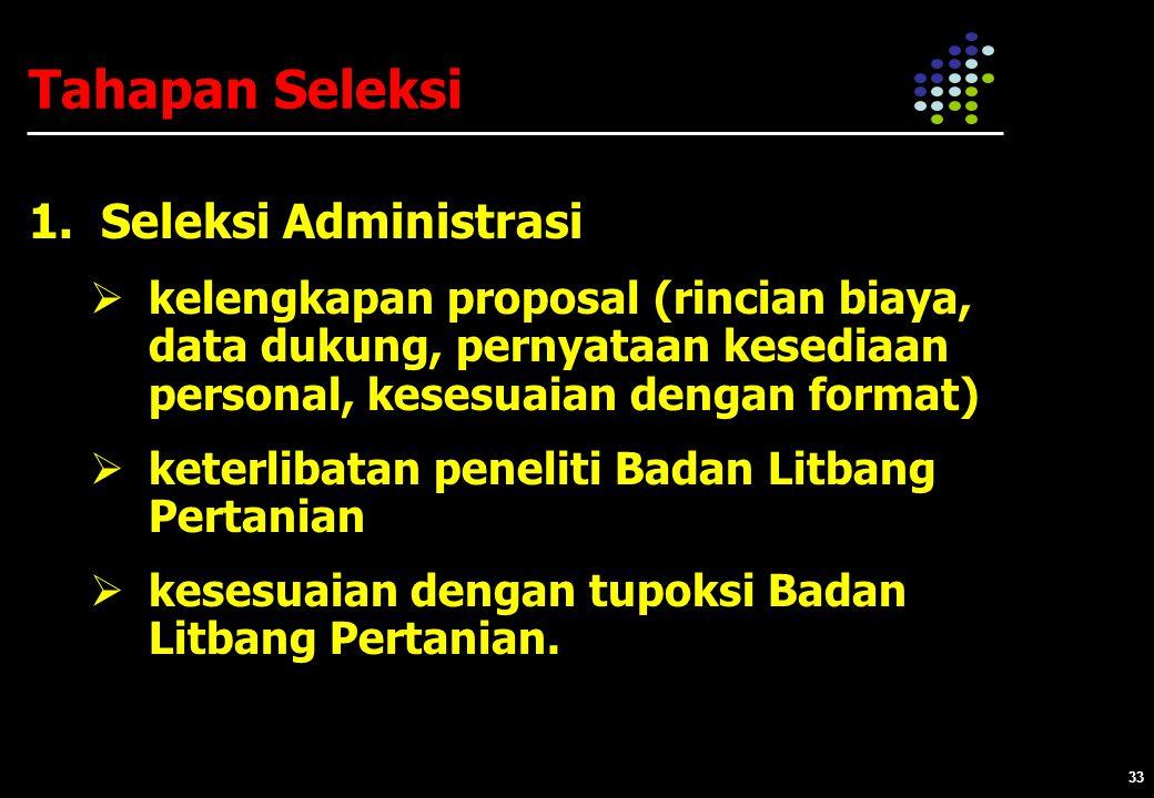 Tahapan Seleksi 1. Seleksi Administrasi