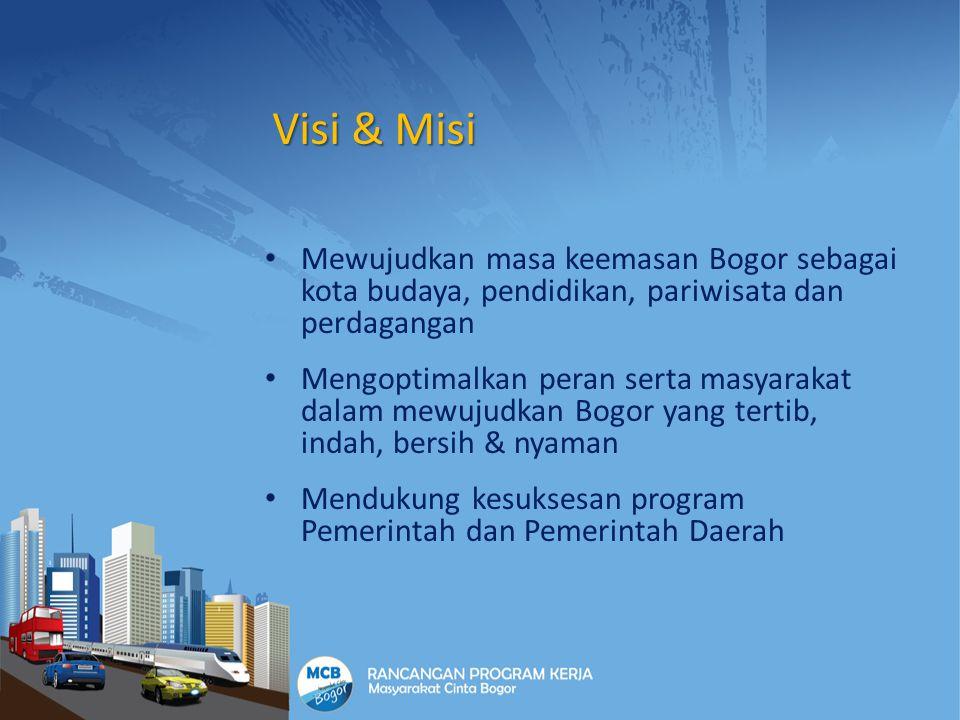 Visi & Misi Mewujudkan masa keemasan Bogor sebagai kota budaya, pendidikan, pariwisata dan perdagangan.