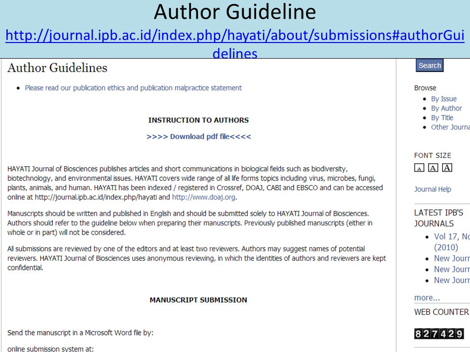 Author Guideline http://journal. ipb. ac. id/index