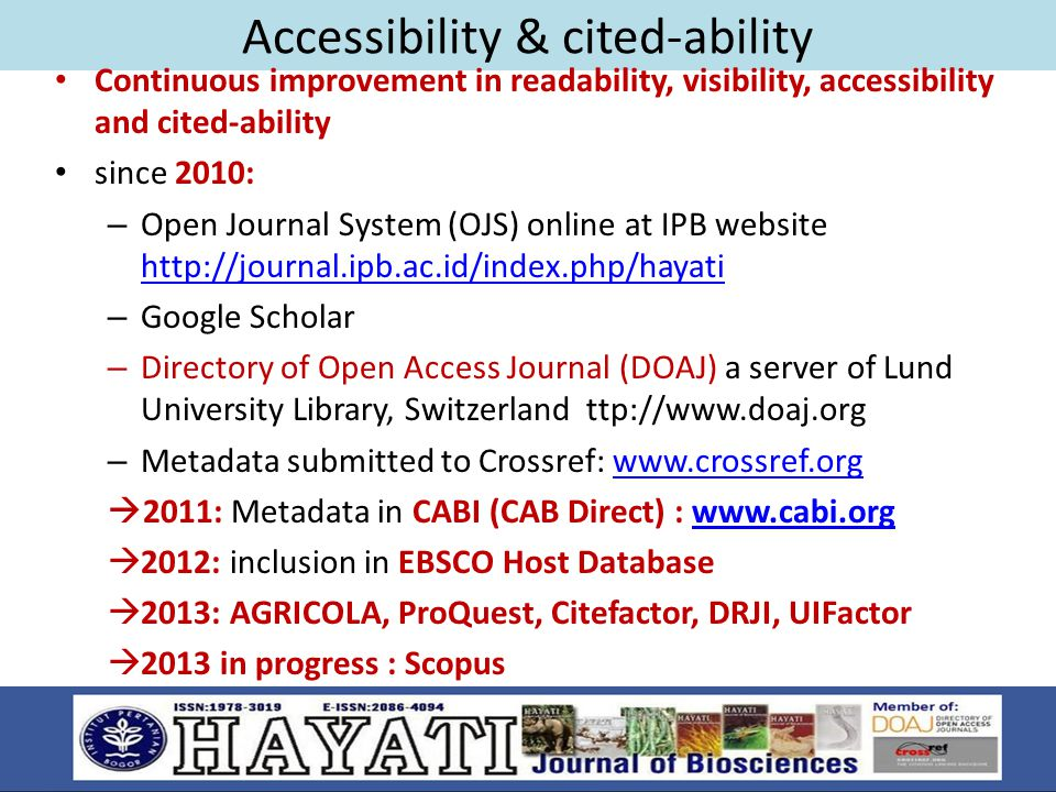 Accessibility & cited-ability