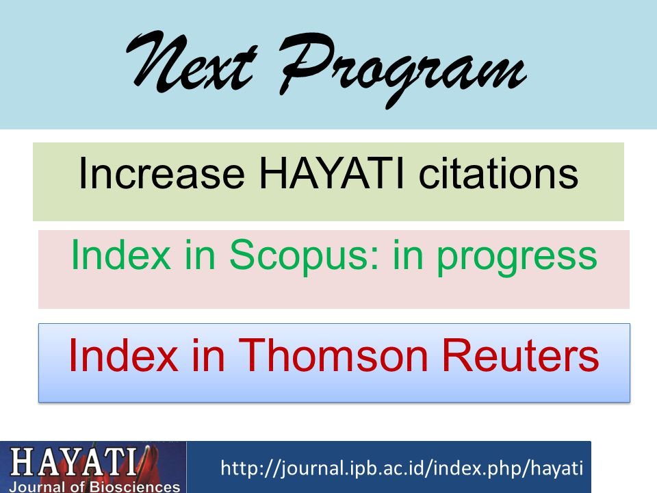 Next Program Index in Thomson Reuters Increase HAYATI citations
