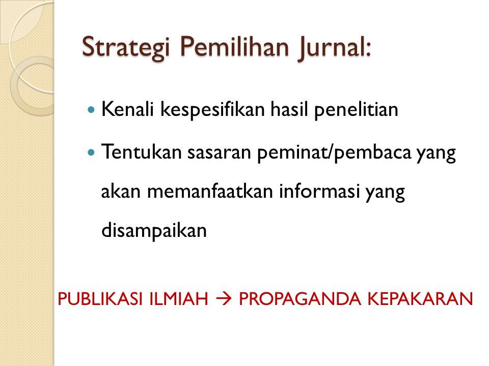 Strategi Pemilihan Jurnal: