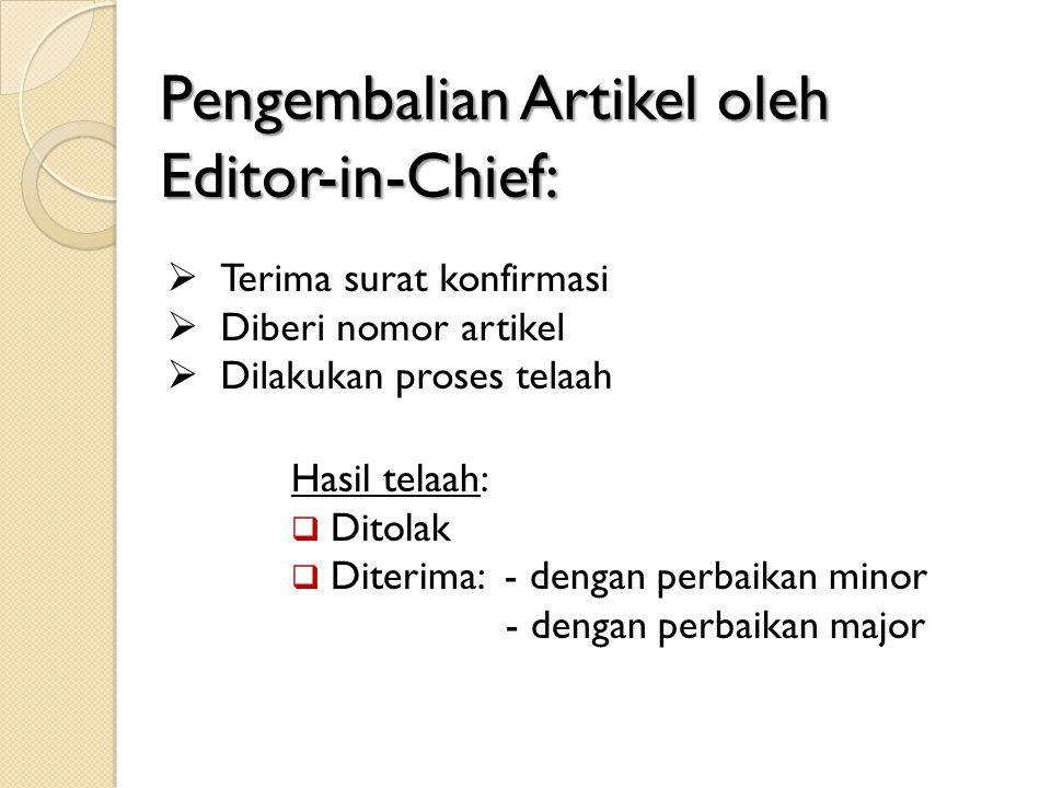 Pengembalian Artikel oleh Editor-in-Chief: