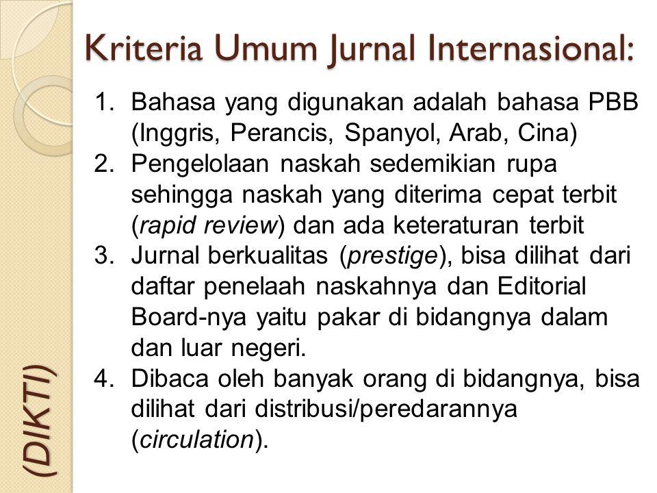 Kriteria Umum Jurnal Internasional: