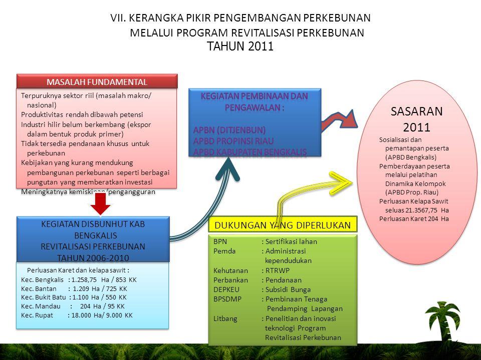 VII. KERANGKA PIKIR PENGEMBANGAN PERKEBUNAN MELALUI PROGRAM REVITALISASI PERKEBUNAN TAHUN 2011