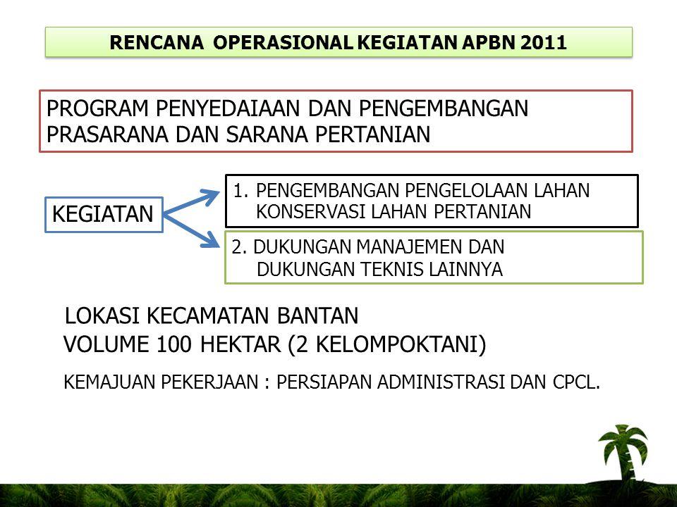 RENCANA OPERASIONAL KEGIATAN APBN 2011