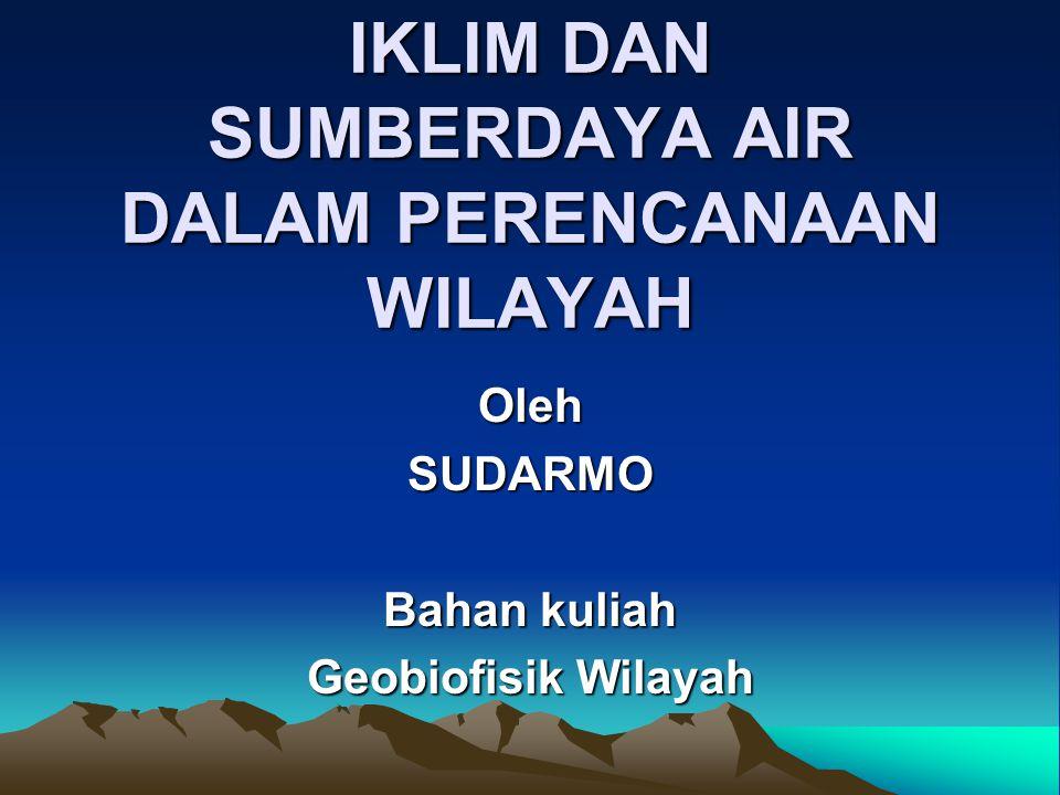 IKLIM DAN SUMBERDAYA AIR DALAM PERENCANAAN WILAYAH
