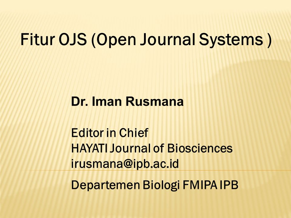 Fitur OJS (Open Journal Systems )