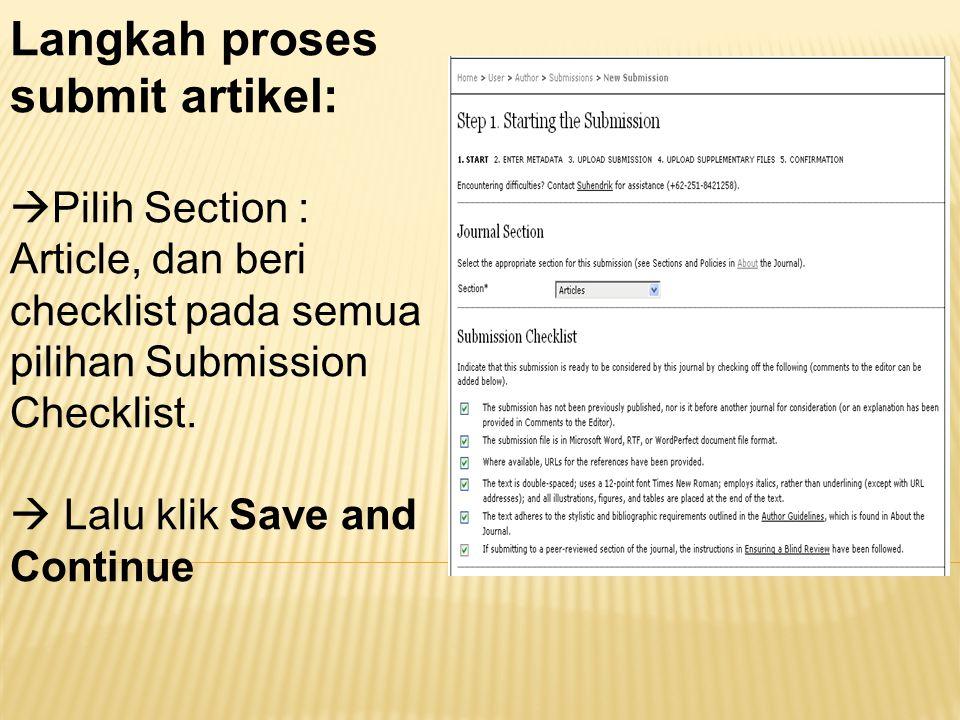 Langkah proses submit artikel: