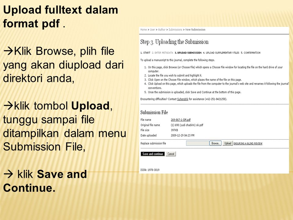 Upload fulltext dalam format pdf .
