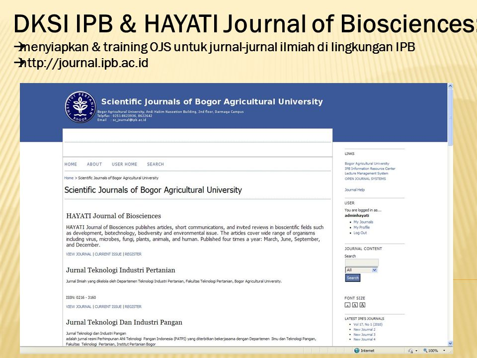DKSI IPB & HAYATI Journal of Biosciences: