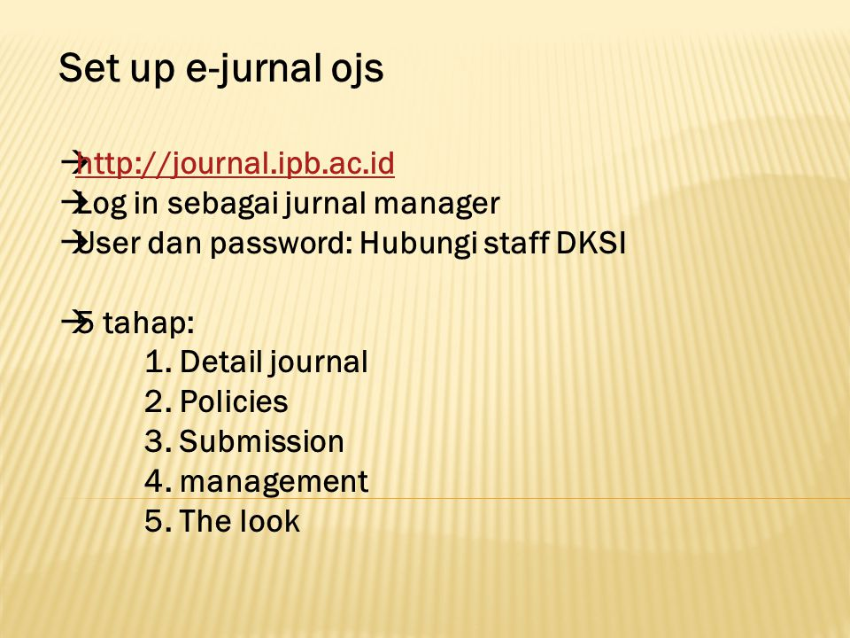Set up e-jurnal ojs http://journal.ipb.ac.id