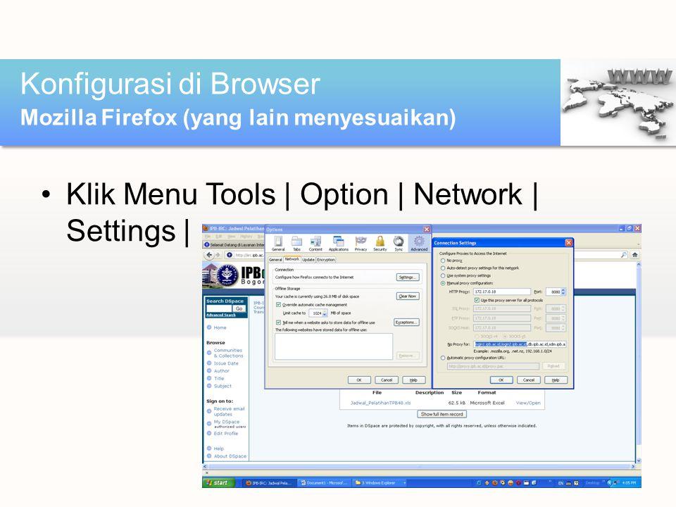 Konfigurasi di Browser