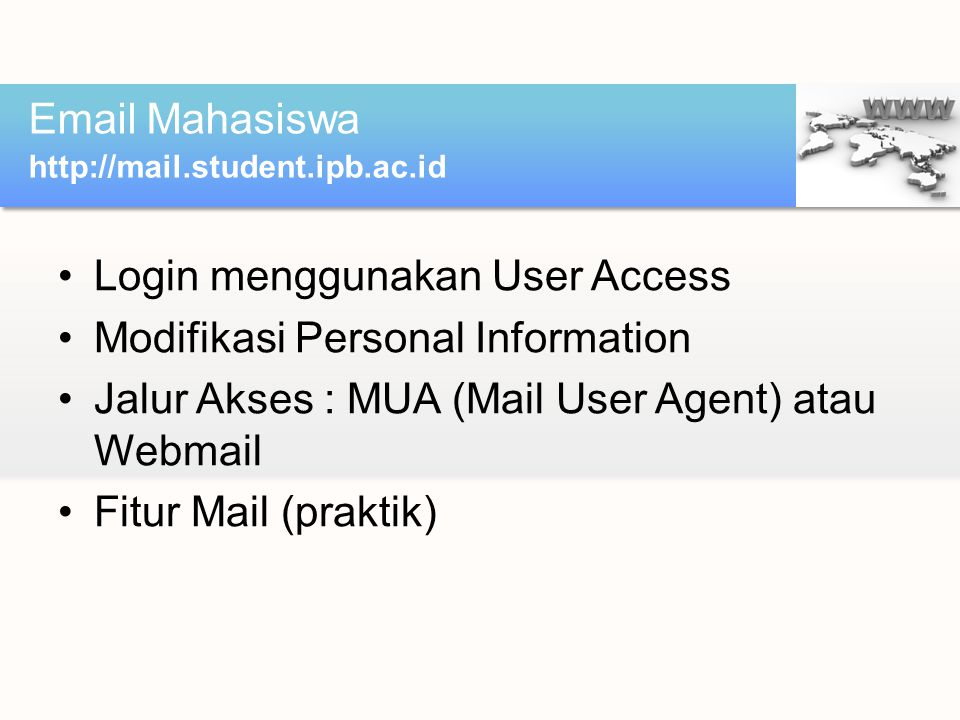 Login menggunakan User Access Modifikasi Personal Information