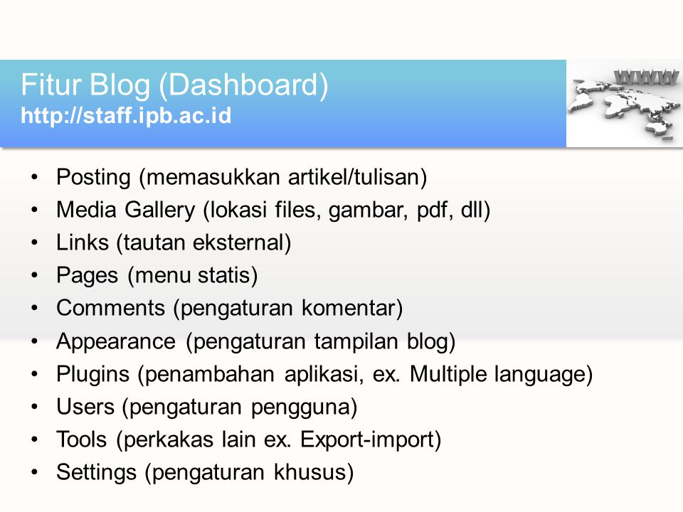 Fitur Blog (Dashboard)