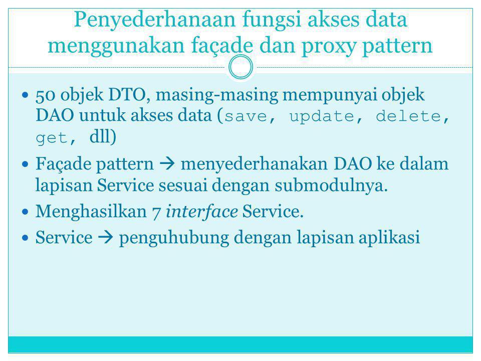Penyederhanaan fungsi akses data menggunakan façade dan proxy pattern