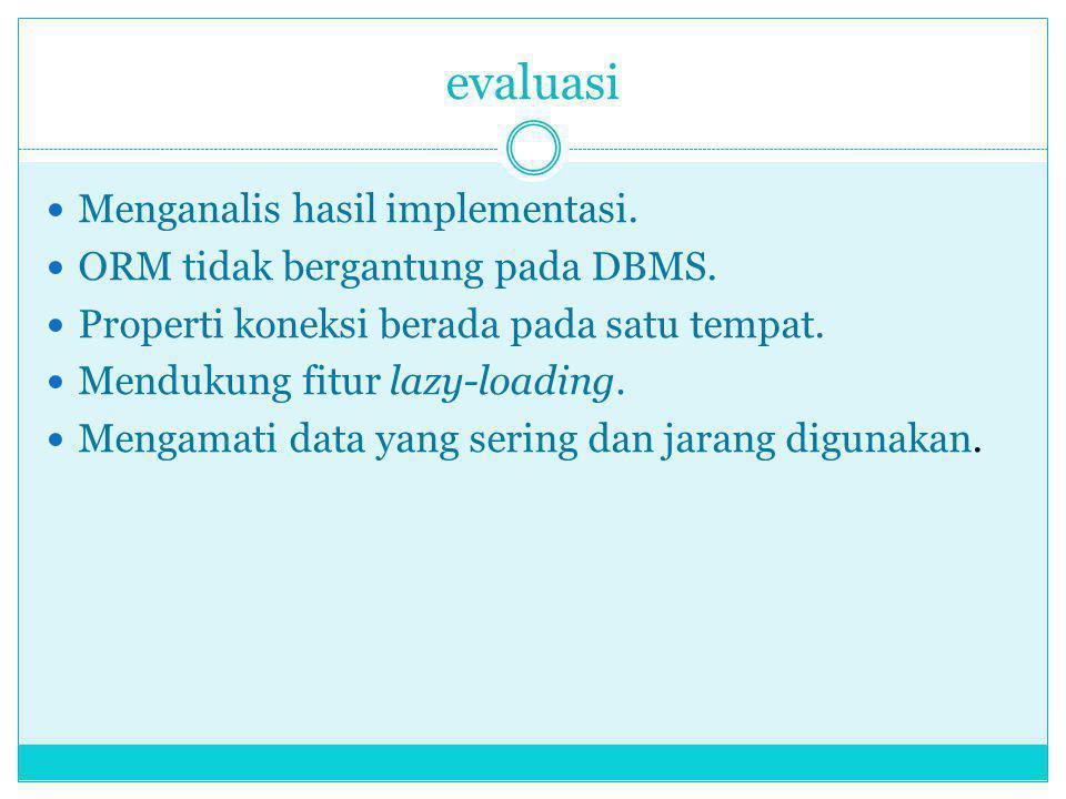 evaluasi Menganalis hasil implementasi.