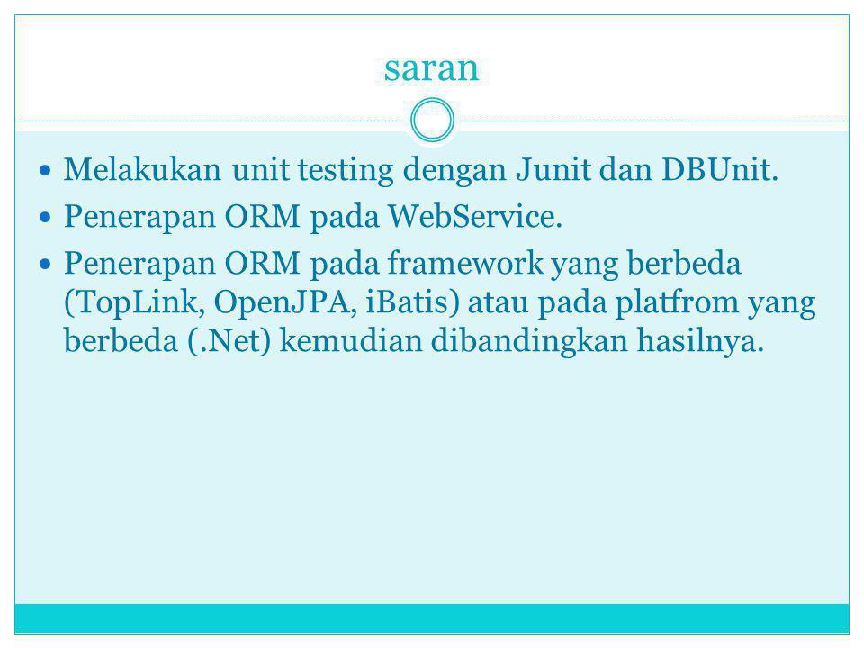 saran Melakukan unit testing dengan Junit dan DBUnit.
