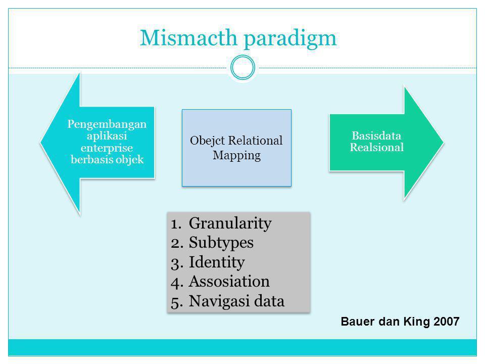 Mismacth paradigm Granularity Subtypes Identity Assosiation