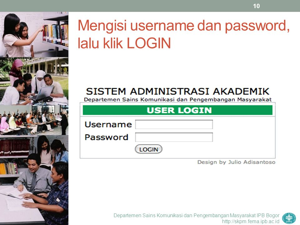 Mengisi username dan password, lalu klik LOGIN