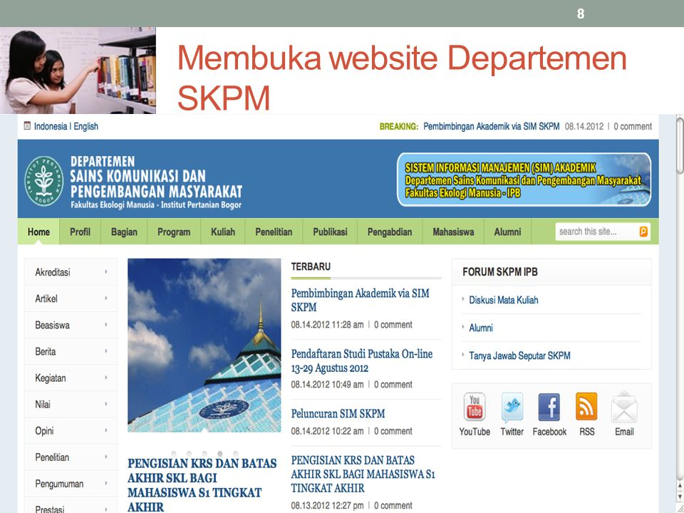 Membuka website Departemen SKPM
