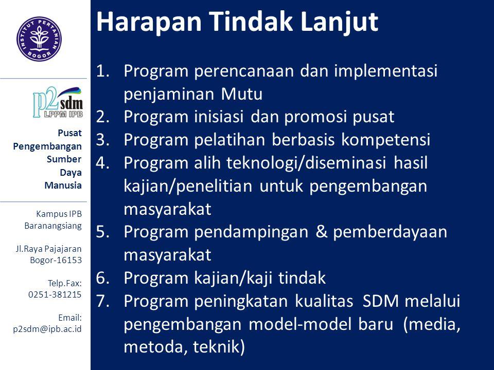 Harapan Tindak Lanjut Program perencanaan dan implementasi penjaminan Mutu. Program inisiasi dan promosi pusat.