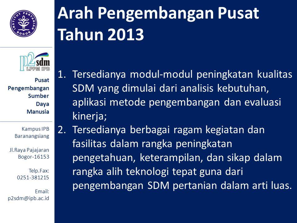 Arah Pengembangan Pusat Tahun 2013