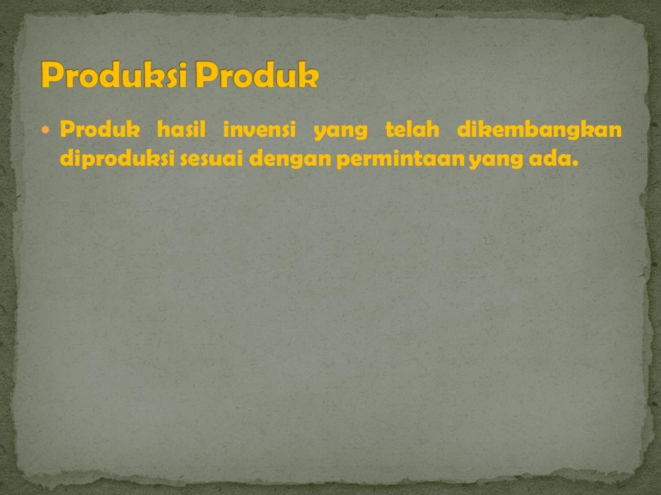 Produksi Produk Produk hasil invensi yang telah dikembangkan diproduksi sesuai dengan permintaan yang ada.
