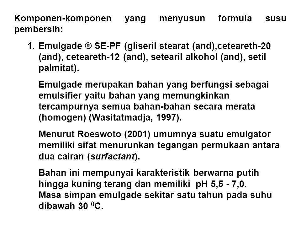 Komponen-komponen yang menyusun formula susu pembersih: