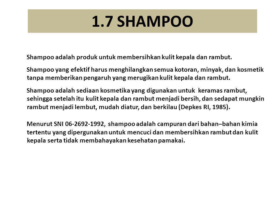 1.7 SHAMPOO  Shampoo adalah produk untuk membersihkan kulit kepala dan rambut.