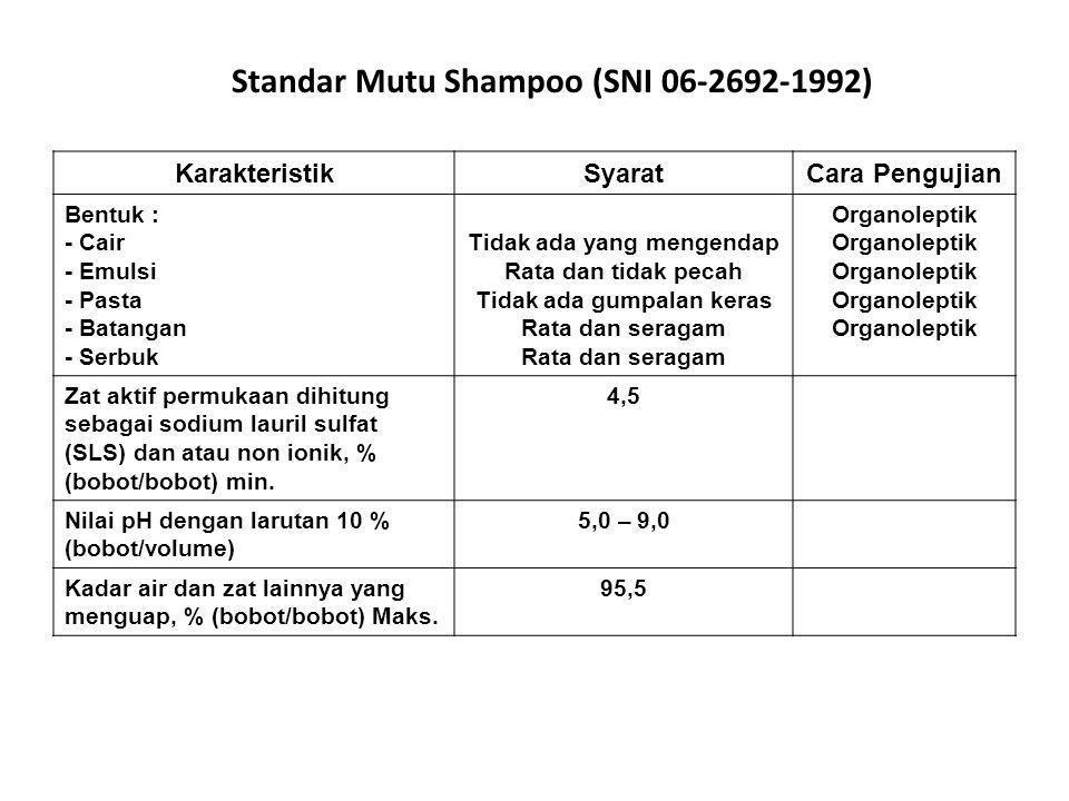 Standar Mutu Shampoo (SNI 06-2692-1992)