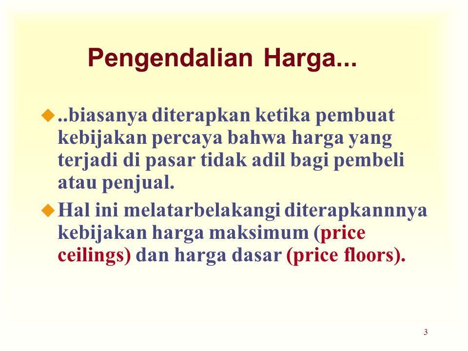 Pengendalian Harga... ..biasanya diterapkan ketika pembuat kebijakan percaya bahwa harga yang terjadi di pasar tidak adil bagi pembeli atau penjual.