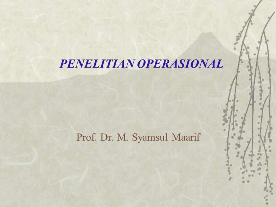 PENELITIAN OPERASIONAL