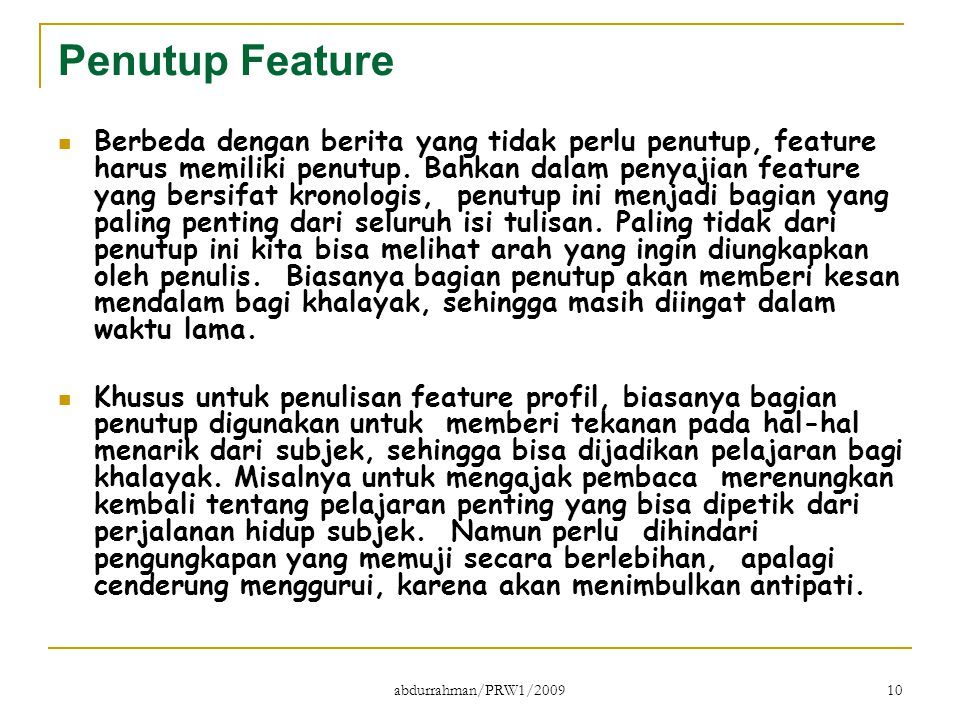 Penutup Feature