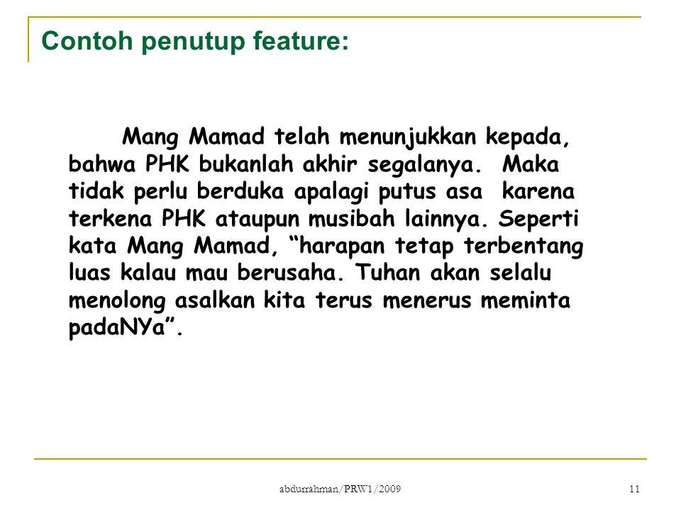 Contoh penutup feature: